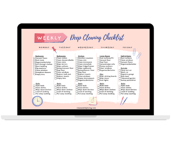 Deep Cleaning Checklist - Resource Library - Clean and Tidy Living