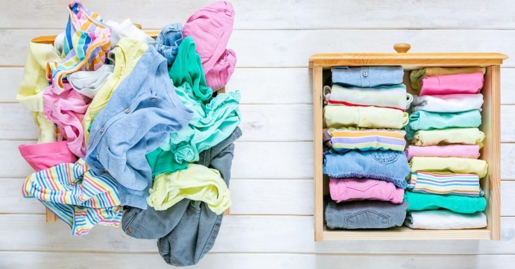 Messy and Tidy Clothes - Folding Underwear Marie Kondo