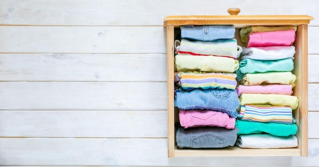 Tidy Folded Clothes in Drawer - Folding Underwear Marie Kondo