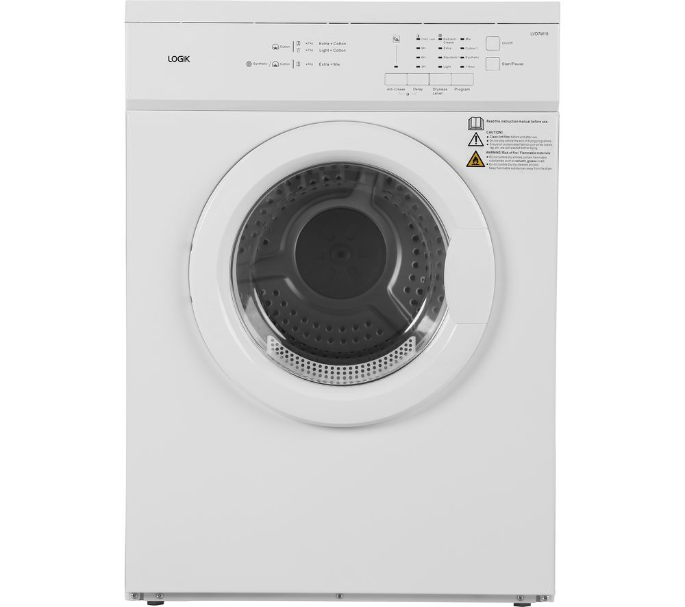 LOGIK LVD7W18 7 kg Vented Tumble Dryer - White - Best Tumble Dryer for a Cold Garage - Clean and Tidy Living