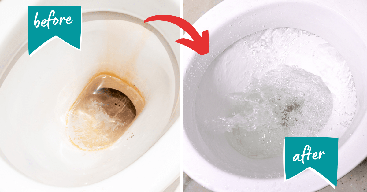 Before and After Removing Limescale - How to Remove Limescale From Toilet Below Waterline - Clean and Tidy Living