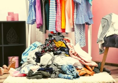 Messy clothes on floor in room - How to tidy your room quickly - Clean and Tidy Living